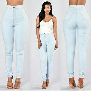 Topnotch High Waist Jeans - Light Blue